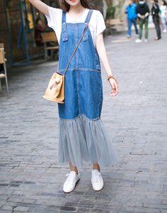 1e5ff6c88df 2017 fashion Latest design supplier enzyme washed denim dress blue wholesale  long skirt