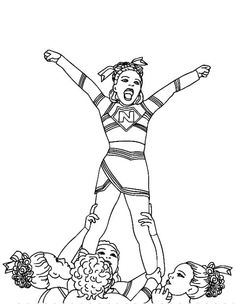 Printable coloring picture of Cheerleader for teenage girls