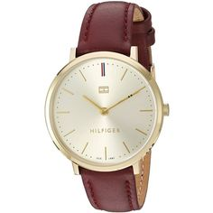 Tommy Hilfiger Women's 'Sophisticated Sport' Quartz Gold-Tone and... ($99) ❤ liked on Polyvore featuring jewelry, watches, dial watches, purple watches, tommy hilfiger watches, leather wrist watch and purple jewelry