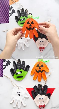 Halloween Crafts For Kids, Cute Kids Crafts, Halloween Rocks, Holiday Crafts For Kids, Autumn Crafts, Scary Halloween, Preschool Crafts, Halloween Makeup, Christmas Crafts
