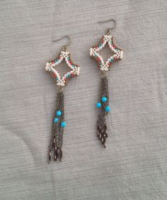 Shooting star earrings w/Kingman turquoise & bronze bugle beads