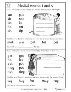 kindergarten words  with t in middle | Vowel sounds: i and o - Worksheets & Activities | GreatSchools