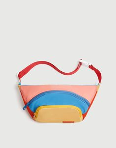 Multicoloured fabric belt bag in mustard yellow, blue, orange and pink with a double pocket. Pull & Bear, Mustard Yellow Decor, Best Travel Backpack, Yellow Belt, Quilted Bag, Girls Bags, Backpack Purse, Stylish Mens Fashion, Fashion Bags