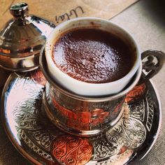 Turkish coffee in Izmir. http://www.turkishstylegroundcoffee.com/turkish-coffee-recipe/ #turkishcoffee #turkishcoffeerecipe
