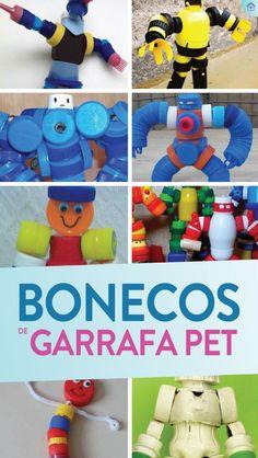 Bonecos com tampa de garrafa PET - Dicas Práticas Plastic Bottle Caps, Bottle Crafts, Smurfs, Handmade, Design, Plastic Bottle Crafts, Elderly Crafts, Crafts For Children, Make A Robot