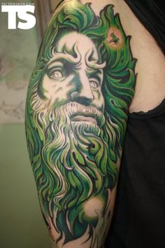Green Man Tattoo by: Rosana 'Derma Donna' at Dermadonna Custom Tattoo in Amsterdam, NL Dad Tattoos, Tattoo You, Body Art Tattoos, Sleeve Tattoos, Green Man Tattoo, Green Tattoos, Tattoo Addiction, Ink Addiction, Guitar Drawing