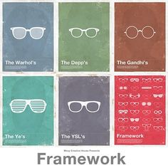 Frameworks Posters By Moxy Creative Celebrate Famous Eyeglass Frames. Optic Logo, Celebrities With Glasses, Lunette Style, Optical Shop, Optician, Eyeglasses, Graphic Design, Creative, Posters