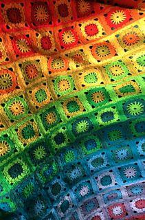 Ravelry: Rainbow Blanket pattern by Marlisa Simonis - de Kneuterclub Afghan Crochet Patterns, Crochet Squares, Crochet Motif, Free Crochet, Crochet Ideas, Crochet Rugs, Crochet Afghans, Crochet Projects, Crochet For Beginners Blanket