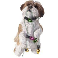 The Pet Set Brown & White Shih Tzu Diva Dog Glass Christmas ...