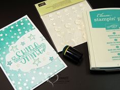 Itty Bitty Accents Epoxy Stickers - great for layering over coordinating stamp images like the stars in the Sale a Bration set called You Brighten My Day. Note card with Irresistibly Yours star paper by Patty Bennett #stampinup