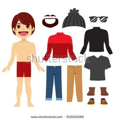 Young hipster paper doll boy with a set of clothes and accessories  #hipster #paperdoll #paper #doll #clothes #fashion #man #cute #flat #character