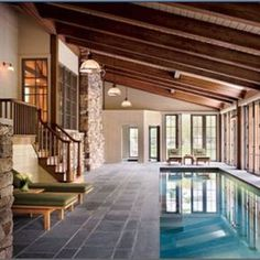 What better day, than relaxing at Indoor Swimming Pool in your house whenever you want. Pool Indoor, Indoor Swimming Pools, Swimming Pool Designs, Outdoor Pool Areas, Lap Swimming, Lap Pools, Backyard Pools, Pool Decks, Pool Landscaping