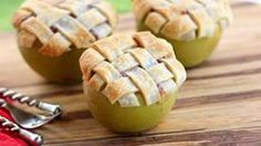 Mini apple pies with lattice crusts, baked inside apples. Ever see anything cuter than this?