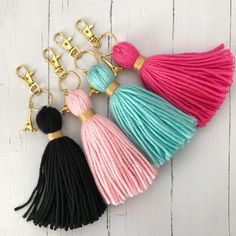 Love In Paris Charm Tassel Gold Keychain *Choose Color* Crochet Keychain, Tassel Keychain, Diy Keychain, Keychains, Pom Pom Crafts, Yarn Crafts, Diy Tassel, Tassels, Diy Yarn Decor