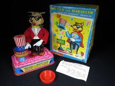 RARE YONEZAWA MR. FOX THE MAGICIAN BLOWING MAGICAL BUBBLES TIN B/O TOY BOX WORKS