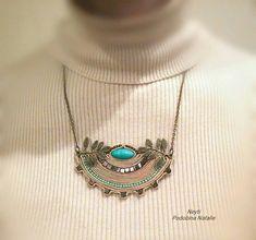 Золотое полукруглое ожерелье с бирюзовым бронзовым кулоном с | Etsy