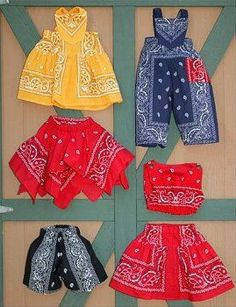 I have a Bandana shirt! Sewing Kids Clothes, Girl Doll Clothes, Sewing For Kids, Girl Dress Patterns, Doll Clothes Patterns, Clothing Patterns, Bandana Crafts, Bandana Outfit, Baby Sewing Projects