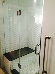 Shower Inclosure With Seat And Wavy Tile!
