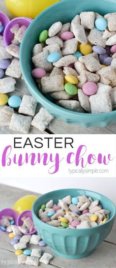 This Easter Bunny Chow recipe is a fun spin on Puppy Chow and makes the perfect treat for Easter or spring! With pastel colored MMs and a touch of butterscotch, its a delicious, tasty treat! Easter Snacks, Easter Candy, Hoppy Easter, Easter Treats, Easter Desserts, Easter Food, Easter Stuff, Cakes For Easter, Easter Eggs