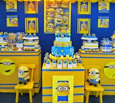 Encontrando Ideias festa minions amarelo azul party yellow blue