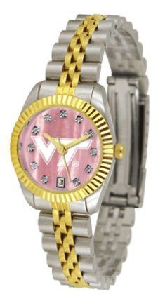 Virginia Tech Hokies Executive Ladies Watch with Mother of Pearl Dial by SunTime. $179.54. Calendar Date Function. 23kt Gold Plate Bezel. Safety Clasp. Stainless Steel Case. Two-Tone Solid Stainless Steel Band. The ultimate Virginia Tech Hokies fan's statement, our Executive timepiece offers men and women a classic, business-appropriate look. Features a 23KT gold-plated bezel, stainless steel case and date function. Secures to your wrist with a two-tone solid stainl...