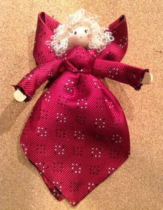 Angel Ornament/Doll from a Man& Tie Old Neck Ties, Old Ties, Neli Quilling, Fabric Crafts, Sewing Crafts, Sewing Projects, Diy Projects, Woodworking Projects, Christmas Projects