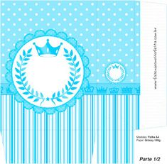 Light Blue Crown in Stripes and Polka Dots  Free Printable Boxes for a Quinceanera Party. Quinceanera Decorations, Quinceanera Party, Printable Box, Free Printables, Popcorn, Nail Polish Box, Kids Sandbox, Dots Free, Box Invitations
