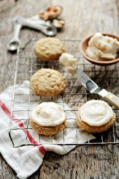 Soft, chewy cashew cookies topped with brown butter frosting.