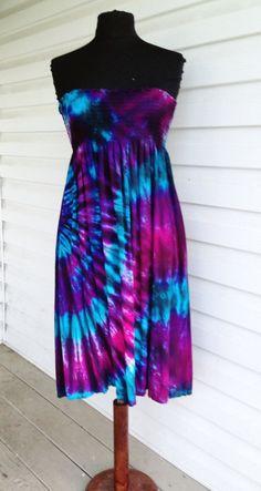 Love me some tie dye!  Tie Dye Smocked Skirt/Sundress by 2dye4designs on Etsy, $36.00.