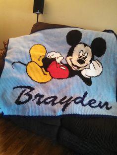 handmade crochet blanket  Mickey Mouse twin size by CathysCrochets