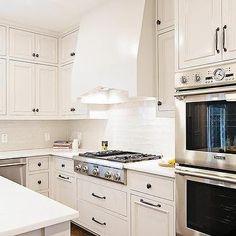 White Kitchen Cabinets With Gl Backsplash Tiles