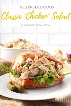 This vegan chicken salad sandwich is filling and perfect for lunch! Super easy to make and served cold, this chicken salad is made with jackfruit and simply delicious! #jackfruit #vegan #chickensalad #sandwich #lunch #recipe Vegan Sandwich Recipes, Vegan Dinner Recipes, Delicious Vegan Recipes, Vegan Dinners, Whole Food Recipes, Salad Recipes, Vegetarian Recipes, Meat Recipes, Chicken Recipes