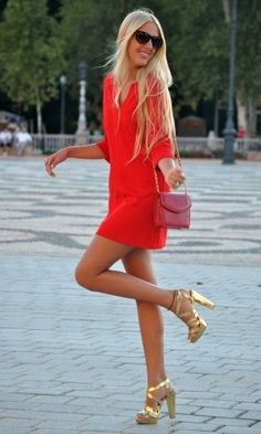 bright colored dress & gold heels
