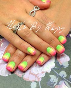 Gel polish ombre neon nail art