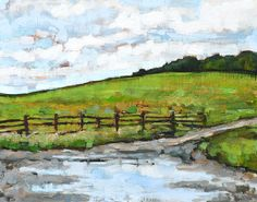 Virginia Farm Mud Puddle Oil Landscape Painting by KevinInmanArt, $225.00