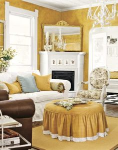 French country color scheme.  Mainly gold and white, with touches of chocolate and blue.