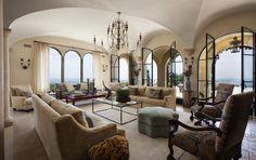 Mediterranean Living Room in Malibu, CA by Philip Nimmo Inc.