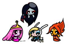 'Adventure Time + Powerpuff Girls= Powerpuff Time'  Candy, fire, vampires and everything nice! Thankskoklizfor the submission.