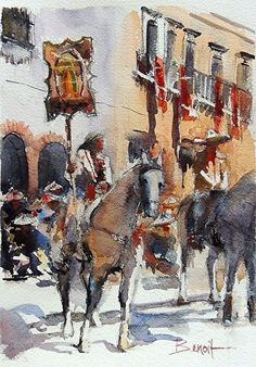 Parade, San Miguel De Allende, Mexico by Diann Benoit Watercolor ~ 16 x 12