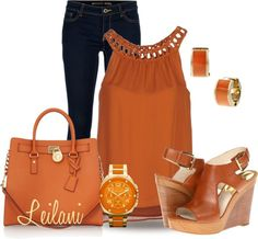 """Michael Kors in Orange"" by leilani-almazan ❤ liked on Polyvore"