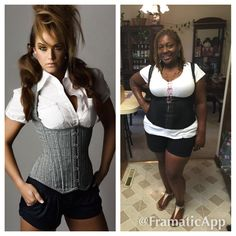 Trying some new looks for the summer. Black shorts, white tee and just an outside girdle I found in a drawer.