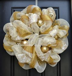 Elegant Cream and Gold Christmas Wreath - Gold Christmas Wreath - Mesh Christmas Wreath on Etsy, $90.00