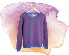 b884b958fb2ca3 women sweater blue aubergine, fashion handmade Berlin, sweatshirt woman,  fair fashion, slowfashion, longsleeve, longarmed shirt. Damenpullover ...