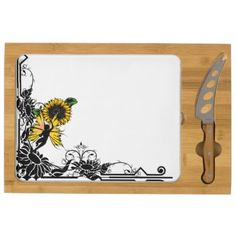 Sunflower Shadow Fairy Cheese Platter - home gifts ideas decor special unique custom individual customized individualized