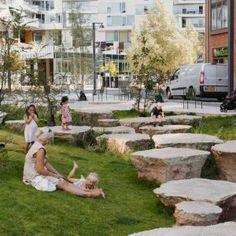 Park Playground, Playground Design, Denmark Landscape, Anne Sophie, Natural Playground, Water Management, Landscape Architecture Design, Summer Landscape, Ornamental Grasses