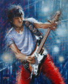 Ron Wood, self portrait Music Painting, Art Music, Music Artists, Rock Artists, Rock Painting, Rolling Stones Album Covers, Rolling Stones Logo, Ronnie Wood Art, Music Images