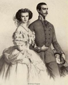 Real couple Franz Josef I and Empress (Sissi)Elisabeth(one of the most loved and beautiful women) of Austria in 1858.