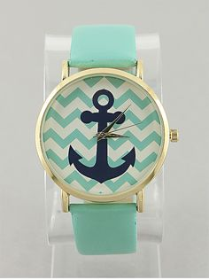 |Mint Chevron Anchor Watch looks so good with the blue anchor!