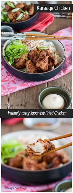 Karaage Chicken is a Japanese favourite. Small pieces of twice fried chicken which is super quick to make and bursting with flavour. via @sugarsaltmagic