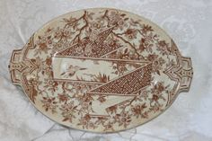 ANTIQUE PINDER, BOURNE AND CO., BURSLEM, TRANSFER-WARE PORCELAIN SERVING PLATTER
